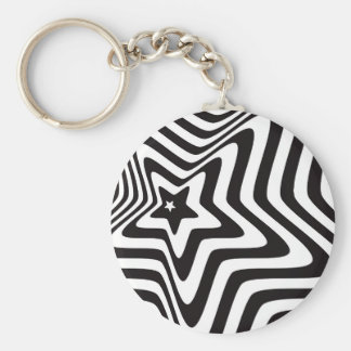 product with black and white star illusion vector key ring