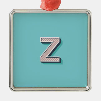 Product with letter Z Silver-Colored Square Decoration