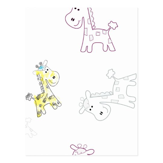 product with pattern colourful sketch of Giraffe Postcard