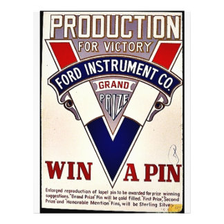 Production For Victory Ford Instrument Co. Win A P 21.5 Cm X 28 Cm Flyer