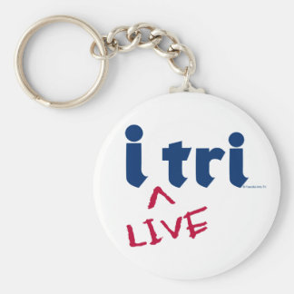 """products """"i tri"""" blue with red """"LIVE"""" Key Chain"""