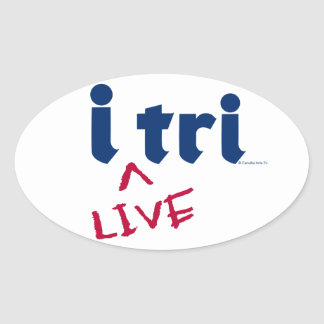 "products ""i tri"" blue with red ""LIVE"" Oval Sticker"