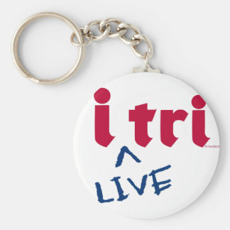 """products """"i tri"""" red with blue """"LIVE"""" Keychains"""