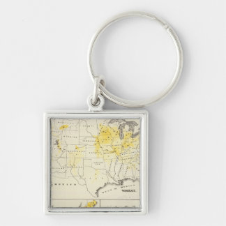 Products raised in proportion to population Silver-Colored square key ring