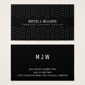 prof black business card with initials pattern