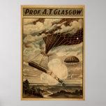 Prof. GLASGOW Balloon Parachute VAUDEVILLE Poster