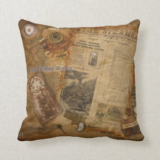Prof. J. Byrnes's Steampunk World Throw Pillow