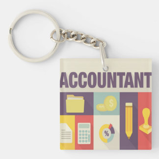 Professional Accountant Iconic Design Double-Sided Square Acrylic Key Ring