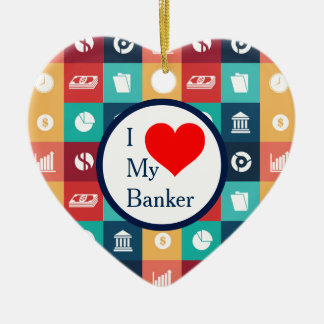 Professional Banker Iconic Pictogram Ceramic Heart Decoration