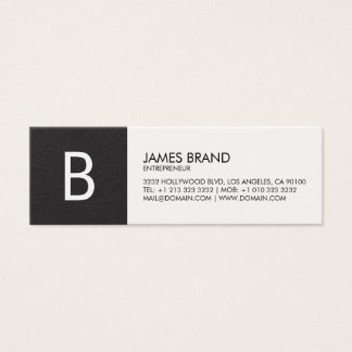 Professional Black and White Monogram Mini Business Card