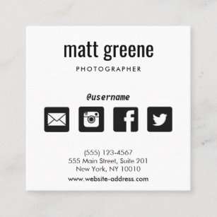 Social media icons business cards business card printing zazzle uk professional black and white social media icons square business card reheart Image collections