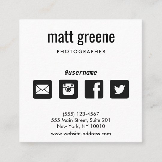 Professional black and white social media icons square business card professional black and white social media icons square business card colourmoves