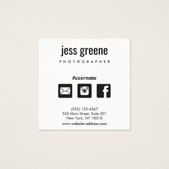 Professional Black and White Social Media Icons Square