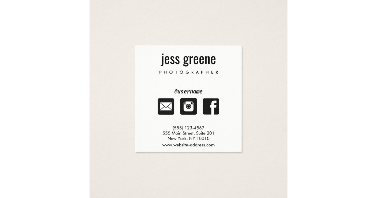 Professional Black and White Social Media Icons Square Business Card ...