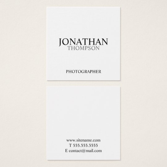 Professional Black and White Square Business Card
