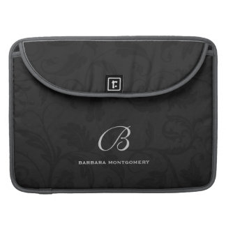 Professional Black Damask with Monogram Sleeves For MacBook Pro
