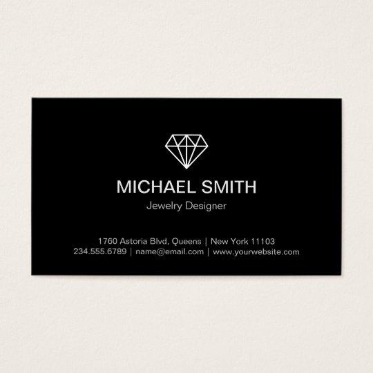 Professional Black White Modern Diamond Logo Business Card