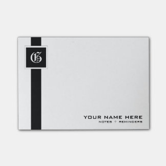 Professional Black & White Stripe Monogram Post-it Notes