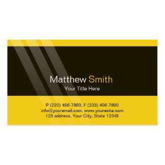 Professional Black Yellow With Elegant Stripes Pack Of Standard Business Cards