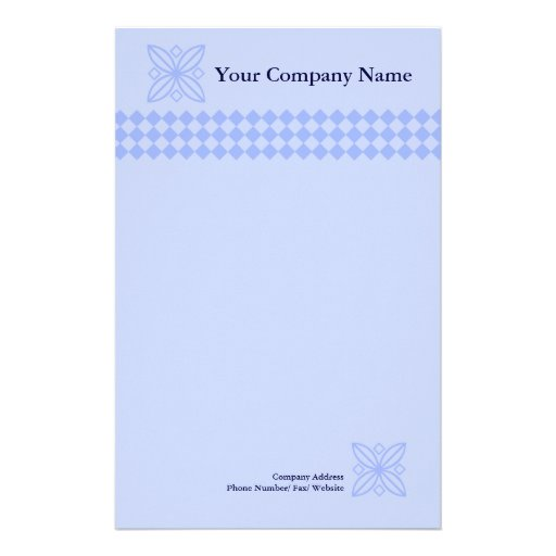 Professional blue checkered letterhead stationery
