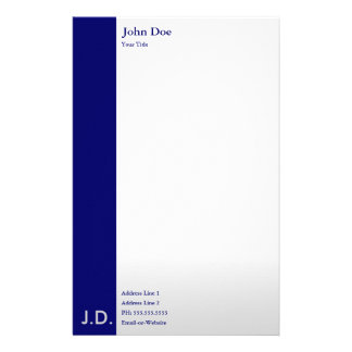 professional blues personalized stationery