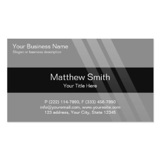 Professional Business, Grey, Black, Stripes Pack Of Standard Business Cards