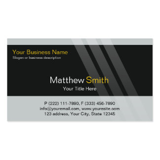 Professional Business, Grey Black Yellow, Stripes Pack Of Standard Business Cards