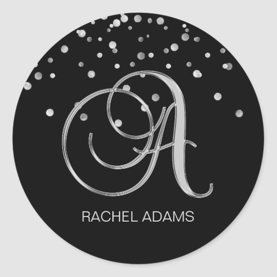 Professional Business Monogram Silver Black Classic Round Sticker