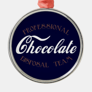 Professional Chocolate Disposal Team Silver-Colored Round Decoration