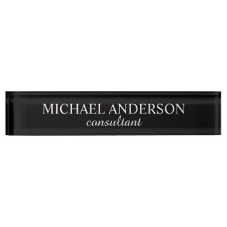 Professional Classic Black and White Name Plate