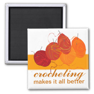 Professional Craft Artist Crocheting Hobby Square Magnet