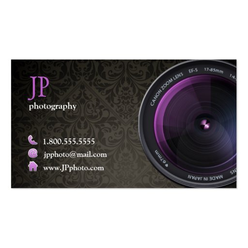 Professional Damask Photographer Camera Lens Business Card Template