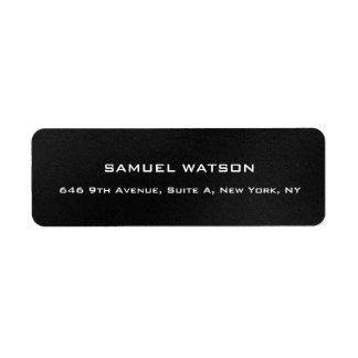 Professional Dark Grey Plain Elegant Modern Return Address Label