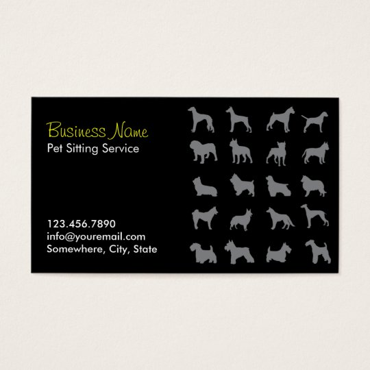Professional Dark Pet Sitting Business Cards
