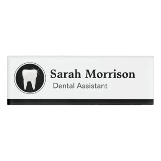 Professional Dental Assistant Dentist Tooth Logo Name Tag
