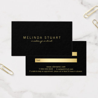 Professional Elegant Black and Gold Appointment Business Card