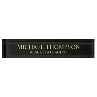 Professional Elegant Black and Gold Name Plate