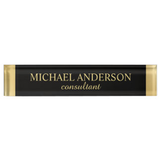 Professional Elegant Black and Gold Nameplate