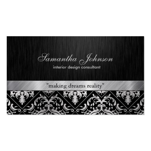 Professional Elegant Black and Silver Damask Business Card Templates