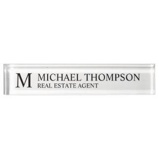 Professional Elegant Black and White Name Plate