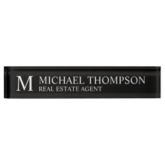 Professional Elegant Black and White Nameplate