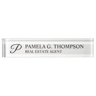 Professional Elegant Black and White Nameplate