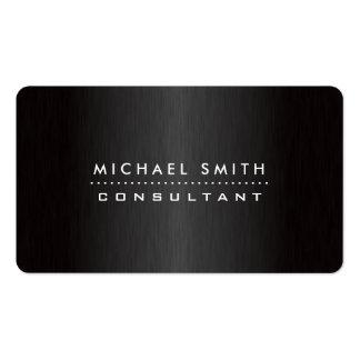 Professional Elegant Black Modern Brushed Metal Pack Of Standard Business Cards