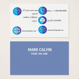 Professional Elegant Blue Plain Metal Business Card