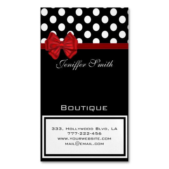 Professional elegant chic polka dots red bow magnetic business cards