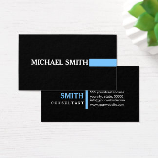 Professional Elegant Maya Blue Modern Plain Black Business Card