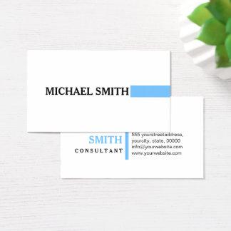 Professional Elegant Maya Blue Modern Plain White Business Card