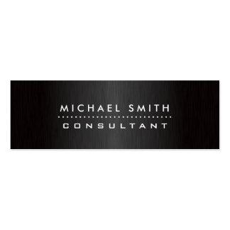 Professional Elegant Modern Black  Brushed Metal Pack Of Skinny Business Cards