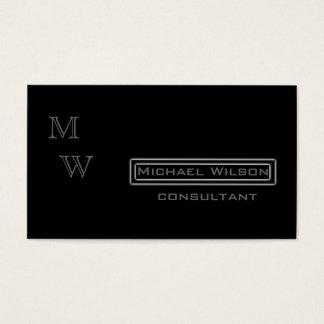 Professional elegant modern black monogram business card