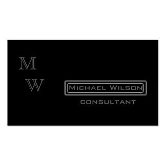 Professional elegant modern black monogram pack of standard business cards